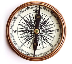 Vintage brass compass with clipping path